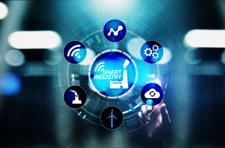 Smart industry 4.0, automation and optimisation concept on virtual. Business and modern technology concept