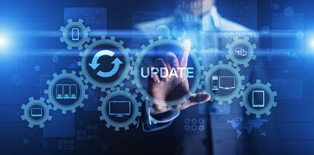 Update System Upgrade Software version technology concept on virtual screen Imagens