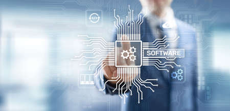 Software development and business process automation, internet and technology concept on virtual screen