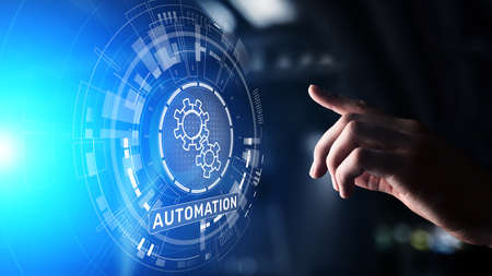 Automation Work flow business process optimisation smart industry modern manufacturing concept on virtual screen Imagens
