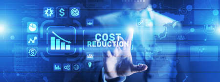 Cost reduction business finance concept on virtual screen