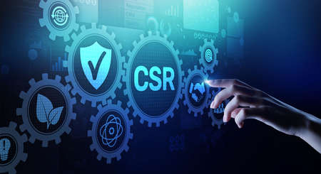 CSR Corporate social responsibility business technology concept on virtual screen Imagens
