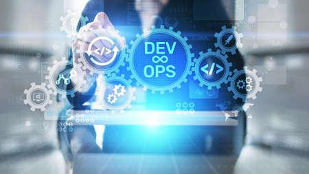 DevOps Agile development concept on virtual screen Imagens