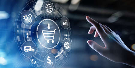 E-Commerce, Online chopping Internet business concept on virtual screen
