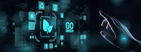 GO green eco technology ecology earth planet saving alternative energy. Button on virtual screen