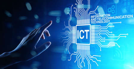 ICT - Information and communication technology concept on virtual screen