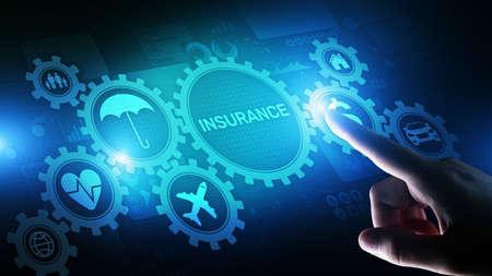 Insurance, health family car money travel Insurtech concept on virtual screen Imagens