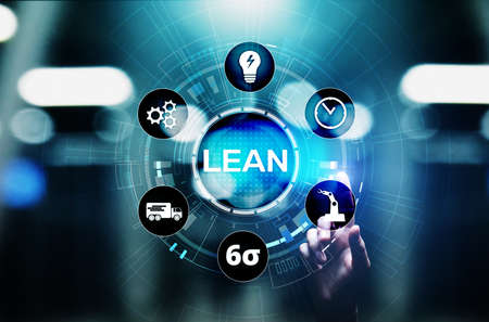Lean, Six sigma, quality control and manufacturing process management concept on virtual screen Imagens