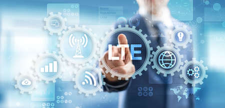 LTE band, mobile internet and telecommunication technology concept on virtual screen Imagens