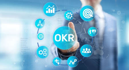 Objective Key Results Business technology process improvement concept on virtual screen