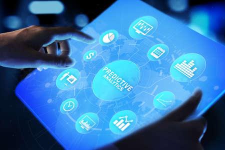 Predictive analytics Big Data analysis Business intelligence internet and modern technology concept on virtual screen Imagens