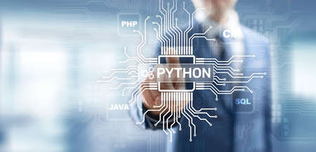 Python high-level programing language. Application and web development concept on virtual screen