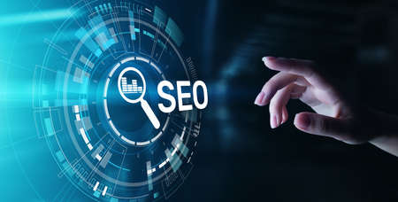 SEO - Search engine optimisation, Digital Internet marketing concept on virtual screen