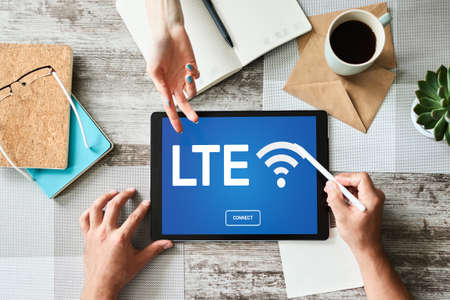 LTE, 4G, 5G Fast wireless internet connection, Telecommunication and technology concept Imagens