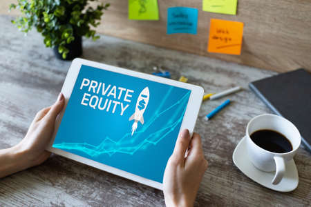Private equity fund, investment and trading concept on screen. Financial growth Imagens