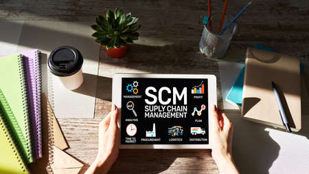 SCM - Supply Chain Management and business strategy concept on the screen