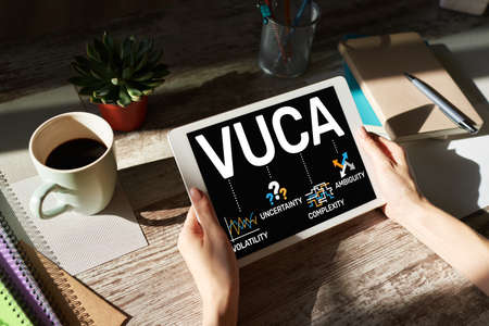 VUCA world concept on screen. Volatility, uncertainty, complexity, ambiguity Imagens