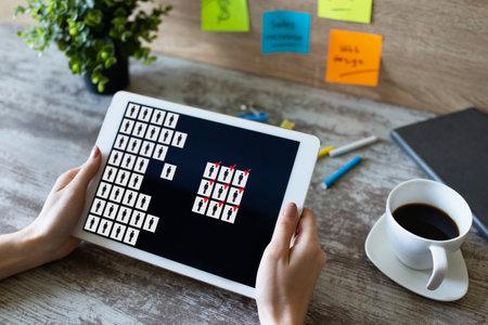 HR, Human resource management, teamwork, recruitment concept on device screen Imagens