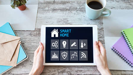 Smart home concept, control panel software on device screen Imagens