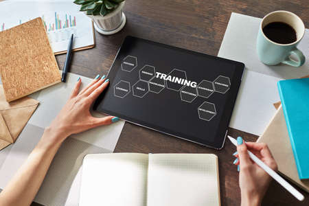 Training course, E-learning, education concept on device screen