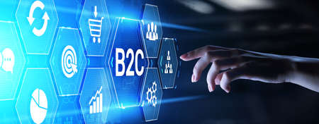 B2C business-to-customer marketing strategy cooperation communication finance concept Imagens
