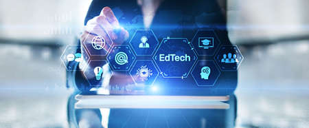 EdTech Education Technology e-learning online learning internet technology concept Imagens