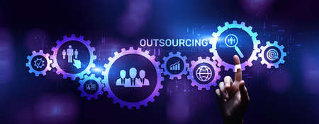 Outsourcing Global recruitment business finance concept on screen