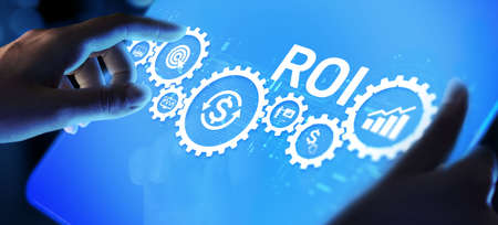 ROI return on investment stok trading business finance concept on virtual screen