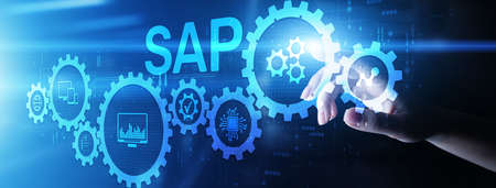 SAP software business process automation. ERP enterprise resource planning system on virtual screen