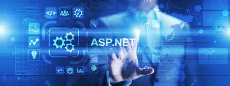 ASP.NET Development programming language concept on virtual screen