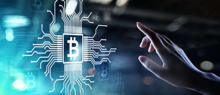 Bitcoin growth fintech financial technology cryptocurrency concept digital money. Trading and investment concept Imagens