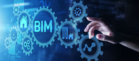 BIM Building Information Modeling Technology concept on virtual screen
