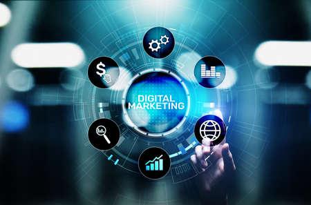 Digital marketing, Online advertising, SEO, SEM, SMM. Business and internet concept
