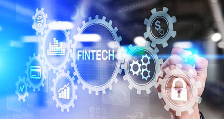Fintech Financial technology Cryptocurrency investment and digital money. Business concept on virtual screen