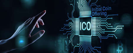 ICO - Initial coin offering, Fintech, Financial and cryptocurrency trading concept on virtual screen