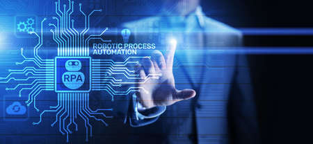 RPA Robotic process automation innovation technology concept on virtual screen