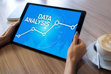 Data analysing, internet and technology concept on screen