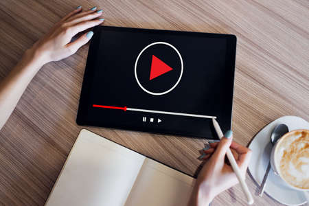 Video player window on device screen. Internet marketing and advertising concept