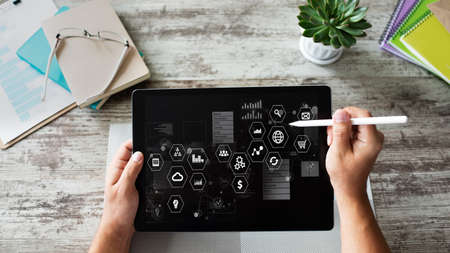 Business and technology concept. Virtual control panel on device screen Imagens