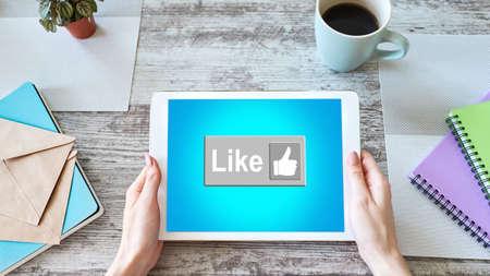 Like button on screen. SMM, Social media marketing concept