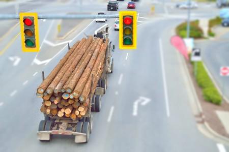Traffic lights, red light, Logging Truck