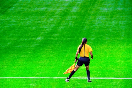 Assistant football referee.  Referee.  Referees flag. Soccer flags.