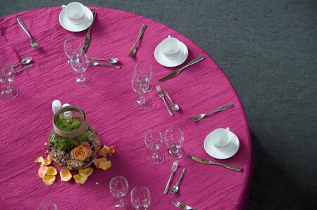 Table cloth. Tableware. Banquet table.