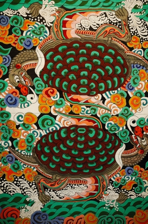 north gate: Sinmumun of the north gate of Gyeongbokgung palace is a picture of the ceiling