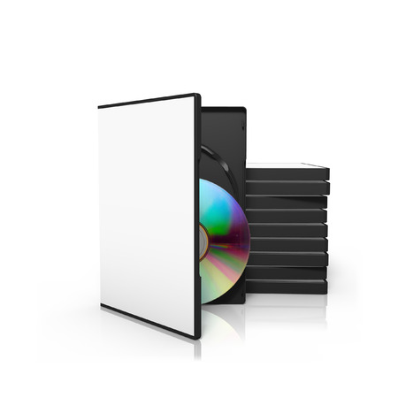 stack of dvd boxes with opened dvd box for use as a template stock
