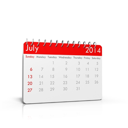 3D calendar on isolated background - July 2014 Stock Photo - 23653451