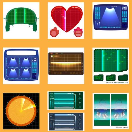 Set of radars screen. Vector
