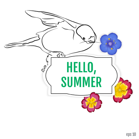 Summer background. Bullfinch with flowers primrose and polemonium caeruleum on the frame with the inscription hello summer