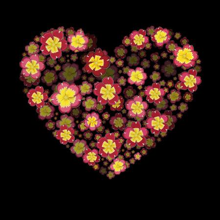Flower heart. Heart with 3d effect. Primrose Flower heart.