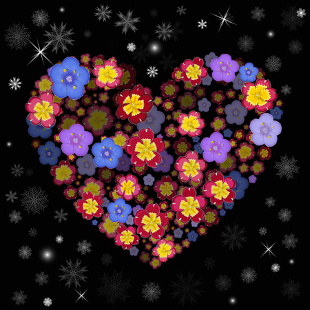 flower heart: Heart with 3d effect. Flower heart with Snowflakes. Christmas background. Illustration